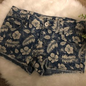 ♥️Jean Shorts with Floral Detail